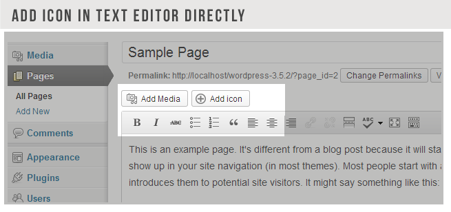 ADD ICON TEXT EDITOR DIRECTLY Media Sample All Pages Add New Comments Appearance Plugins Users Change Permalinks Add Media icon This example page. different from blog post because will sta show your site navigation most Most people start with introduces them potential site visitors might say something like